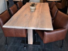 6 comfortabele eetkamerstoelen in Granada leer Cognac met grote parketwielen model Cannes