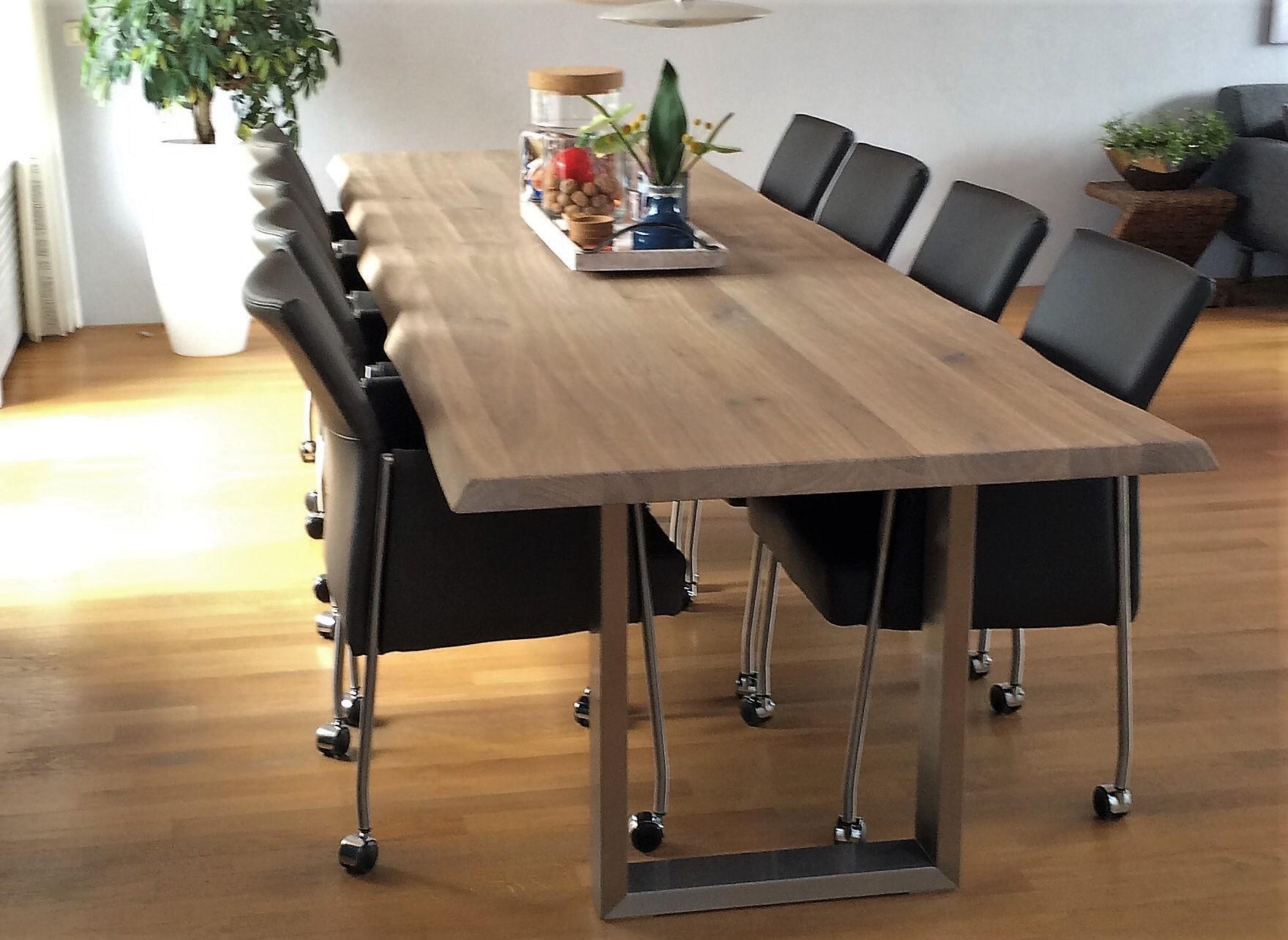 Moderne eetkamertafel op maat ovaal eiken kersen notenhout for Eettafel modern